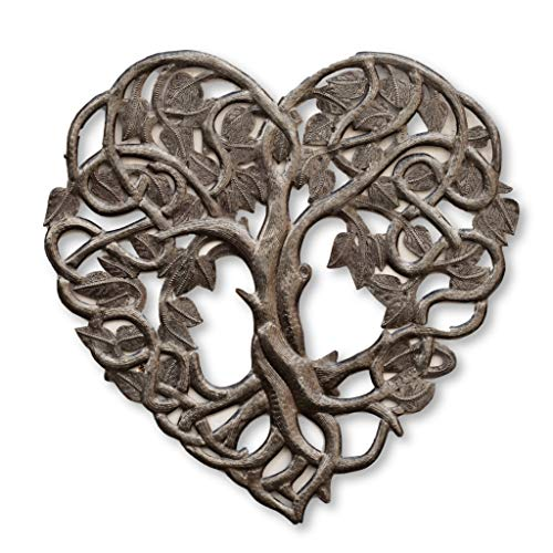 Tree of Life Heart Shaped, Friendship Wall Hanging Plaque, Decorative Home Decor, Peace, Handmade in Haiti, 16 In. x 16 In. (Heart Shaped Tree)