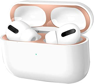 AirPods Proダストガードfor Airpods Pro ケース [侵入防止 防塵 汚れ防止 故障防止 極薄] 2セット 金属製 人気 AirPods Pro カバー ダストガード スキンシール AirPods Pro 3世代 エアーポッズ プロ用 (ローズゴールド)