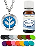 Plant Guru Essential Oil Diffuser Necklace Set Kit With Breathe Blend 10 ml., 25mm Stainless Steel Locket Pendant with 24' Adjustable Chain, 15 Washable Refill Felt Pads. Aromatherapy Jewelry