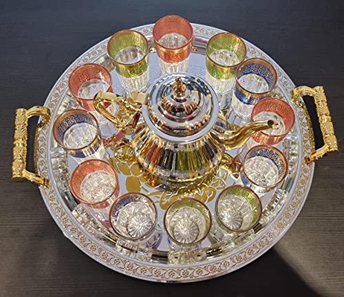 Juego de té marroquí Completo, Tetera con Filtro Integrado inducción 1.6 L + Bandeja 54 cm plateada redonda con asas y 12 Vasos de cristal