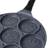 karrychen Non-Stick Pancake Pan Smiley Pancake Griddle Flip Cooker with 7 Flapjack Faces