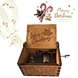 Merry Christmas Music Box, Caaju Hand Crank Engraved Musical Box Vintage Wooden Classic Music Box Crafts, Play The Tune Merry Christmas, Children's Day Birthday Christmas Gifts for Kids