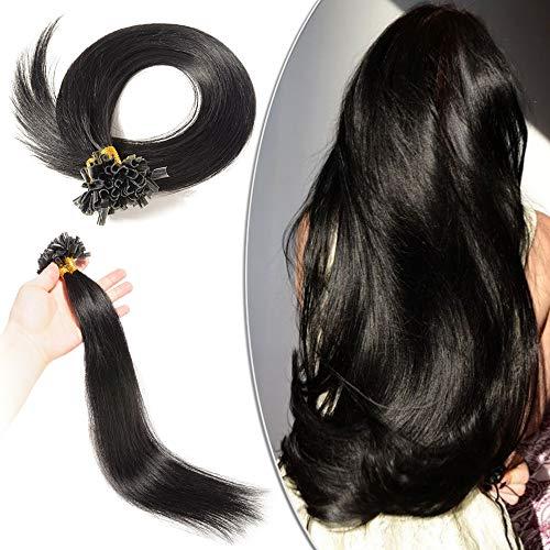 Extensions Cheveux Naturel Keratine - Rajout Cheveux Humain a Chaud 100 Mèches (#1 NOIR FONCE, 60 cm-50g)