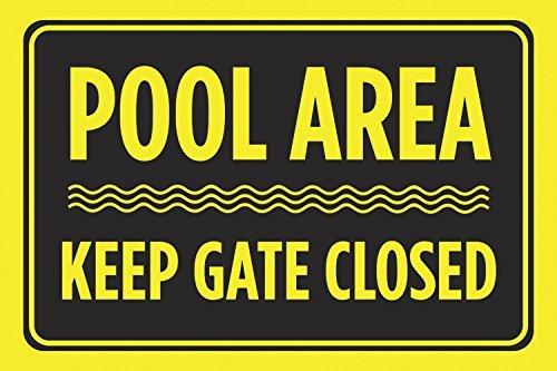GIGIEU Zwembad Gebied Houd Poort Gesloten Zwart Geel Print Zwemregels Zwemmen Horizontale Poster Outdoor Kennisbord - Aluminium Met,10 x 7 Aluminium teken