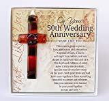 The Grandparent Gift Co. Special Handmade Glass Cross with Wishes (50th)