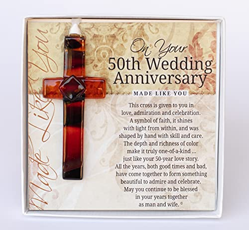 The Grandparent Gift Co. Handmade Glass Cross with 50th Wedding Anniversary Wishes