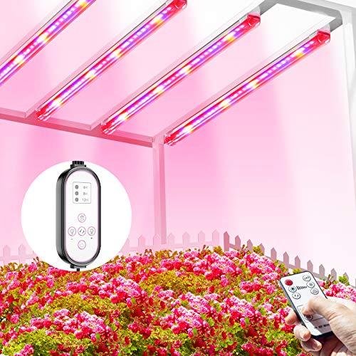 TOPLANET Lámpara de Planta, 40W Lampara Led Cultivo Tubo, T5 Full Spectrum con Luz Azul Roja, 4 PCS Luz Plantas Crecimiento con Temporizador Automático 4/8/12H, 3 Modos Lámpara LED para indoor cultivo