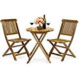 Best Choice Products 3-Piece Acacia Wood Folding Patio Bistro Set for Backyard, Balcony, P...