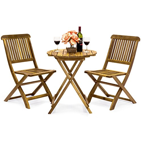 Best Choice Products 3-Piece Folding Acacia Wood Patio Bistro Set w/ 2 Chairs, Round Coffee Table, Natural Finish