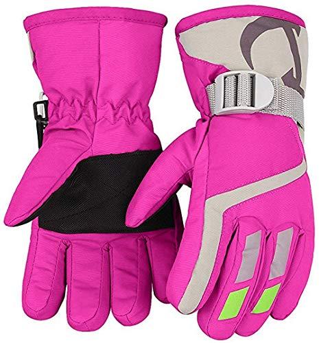 7-Mi Kids Winter Warm Water-Resistant Handschuhe für Skifahren/Snowboarden/Radfahren/Reiten Outdoor-Aktivitäten Kinder Fäustlinge Am besten für 3 to 5 Jahre Jahre alt Pink