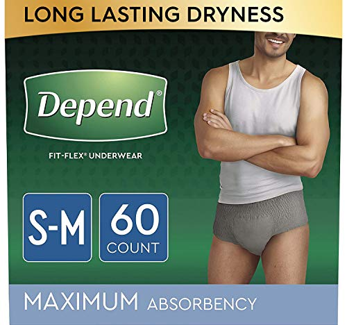 Depend FIT-FLEX Incontinence Underwear for Men, Maximum Absorbency, Disposable, Small/Medium, Grey, 60 Count (2 Packs of 30) (Packaging May Vary)