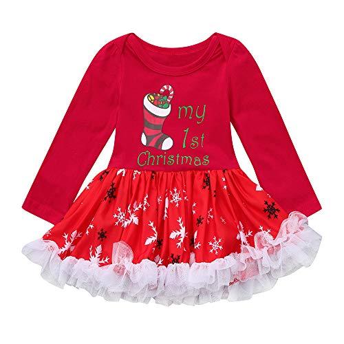 Odejoy Vestito del Puntino di Natale di Nuovo Anno di Natale Set di Neonate di Natale Vestiti Natalizi delle Neonate di Natale Vestono Il Vestito dalla Principessa del Pagliaccetto