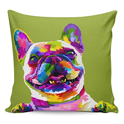 Funda de Cojine Fundas de almohada Fundas de almohada decorativas Cute Franch Bulldog Fundas con ilustración de animales Throw Cojín 45 X 45 CM