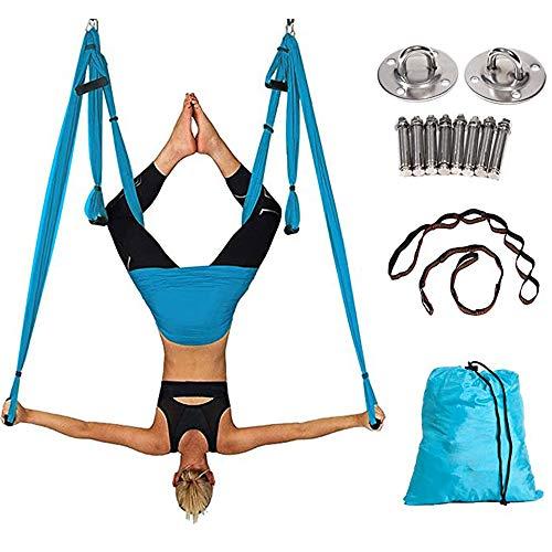FU LIAN Juego de Hamaca de Yoga aérea, Columpio de Yoga/Hamaca y Ruedas de Yoga, Carga de 440 LB, inversión y flexibilidad para el hogar/Gimnasio, Azul