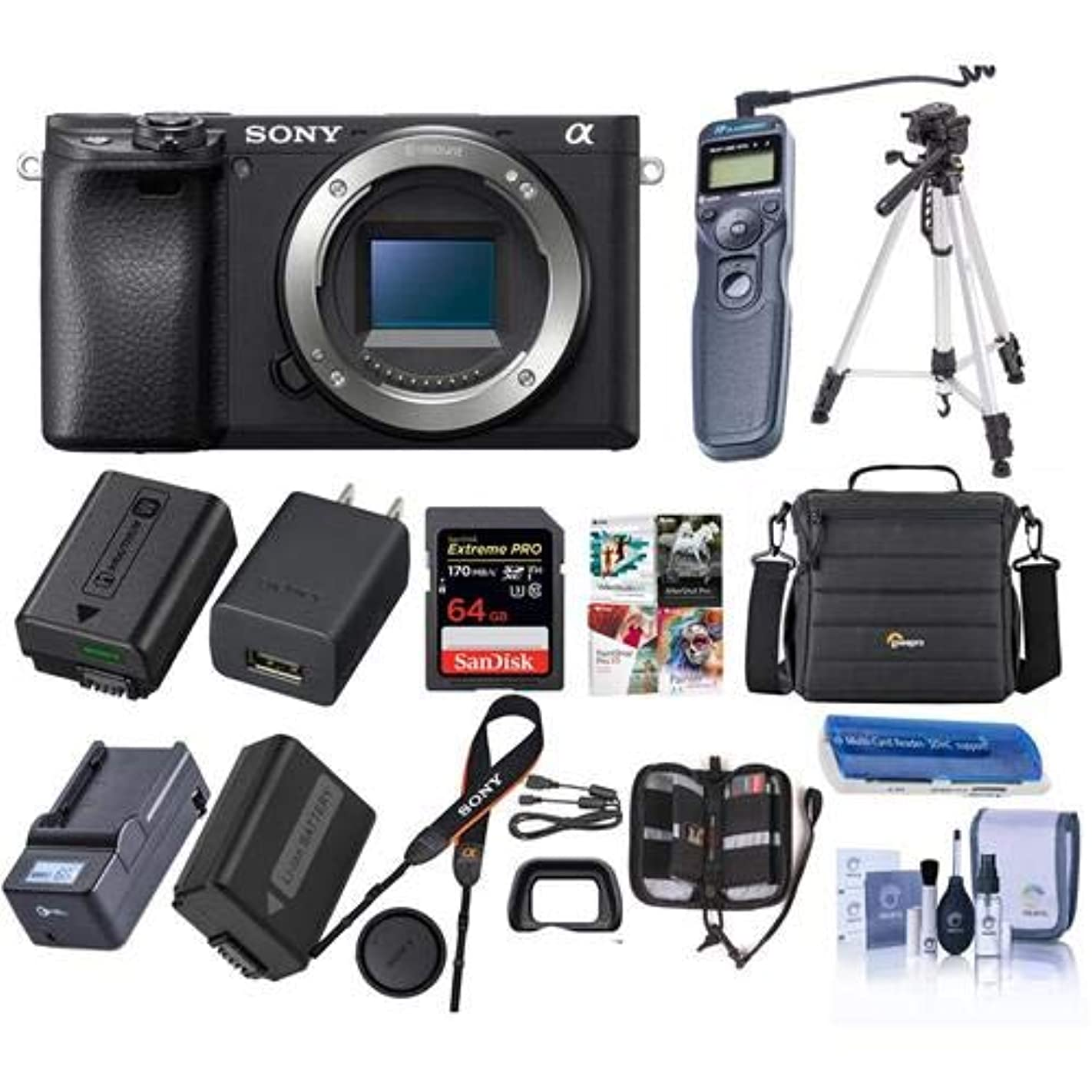 Sony Alpha a6400 24.2MP Mirrorless Digital Camera - Bundle with Camera Case, 64GB SDHC Card, 40.5mm Filter Kit, Tripod, Spare Battery, Remote Shutter Trigger, Compact Charger, Software Pack and More v86908556588