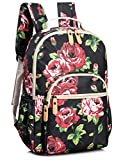 Leaper Floral School Backpack for Girls Travel Bag Bookbag Satchel Bag Black