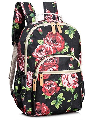 Leaper wasserdichte Leinwand + PVC Schicht Schule Rucksack hübsch floral Laptop Tasche lässig Daypack (schwarz)