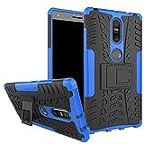 Sunrive Für Lenovo Phab 2 Plus, Hülle Tasche Schutzhülle Etui Hülle Cover Hybride Silikon Stoßfest Handyhülle Hüllen Zwei-Schichte Armor Design schlagfesten Ständer Slim Fall(blau)