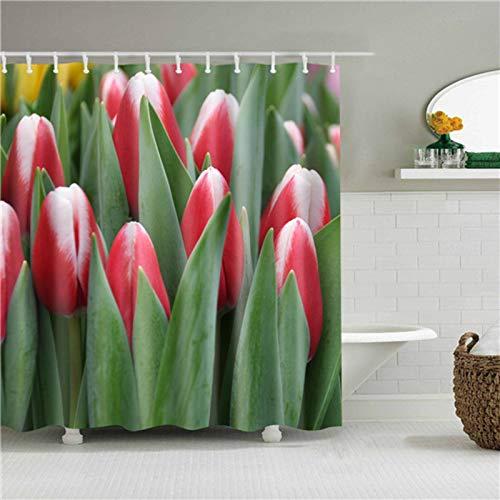 N-B Stilvoller Badezimmer-Duschvorhang, wasserdicht, Polyester, mit Haken