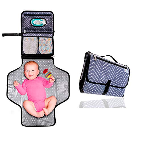 Portable Changing Pad Waterproof; Travel Diaper Changing Table Cover, Pillow, Shoulder and Stroller Straps, Detachable Wipes Holders, To Keep Your Baby Clean, Safe, and Comfy No Matter Where You Are.