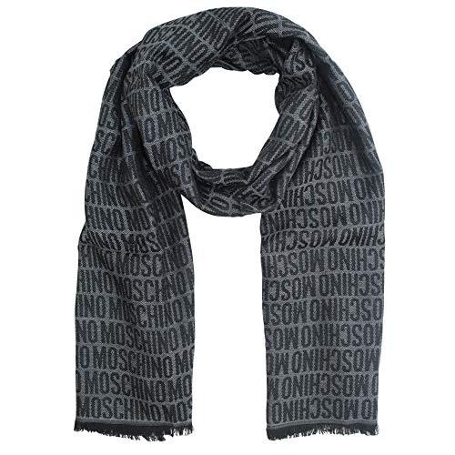 Moschino wollen sjaal opschrift, grijs & zwart ca. 180 x 50 cm.