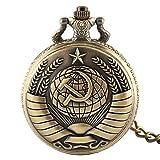 Orologio da tasca, da uomo, design stella Comunismo bronzo Decente orologio da tasca al quarzo con catena, Gift for Men Christmas Gift