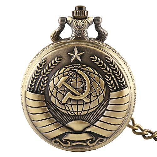 Orologio da taschino da uomo, motivo: comunismo, con stella, in bronzo, al quarzo, con catena, regalo da uomo per Natale