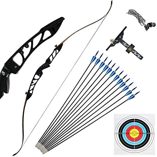 Bkisy Recurve Bow Set 20 28 32 36 38lbs Archery Bow Aluminum Alloy Takedown Recurve Bow Right Hand Bow with 12 Arrows for Adults Youth Hunting Shooting Practice Competition (Black, 28 LBS)
