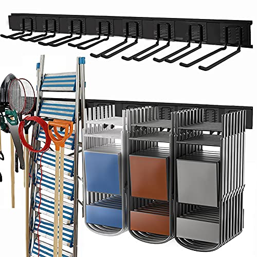 """TORACK Garage Storage Organizer Systems, 48 inch Heavy Duty Steel Wall Mount Rack, Garden Tool Organization for Ladder, Chairs, Power tools, etc. (8-Pack 5-11"""" Mixed Hooks, up to 800 lbs)"""