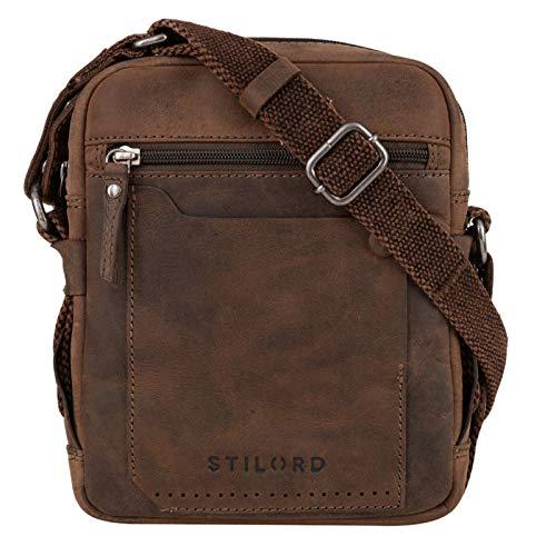 STILORD  Nash  Borsello a Tracolla Uomo in Pelle Borsa Vintage Piccola Borsetta Cuoio Messenger Bag per Tablet, Colore:seppia - marrone