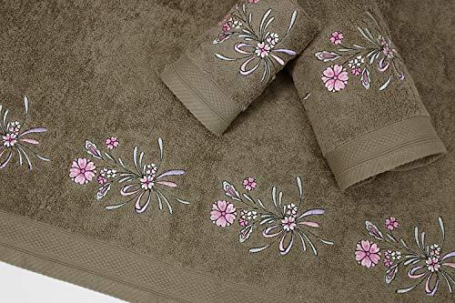 Montse Interiors Juego de Toallas Bordadas Flores 3 Piezas 550gr (Humo Flores Nº18)