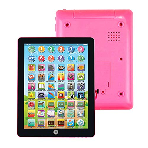 Islandse Computer Tablet Chinese/English Learning Multi-Functional Study Machine Pink Touch Screen Point Reader for Ages 3+ Number/Alphabet Learning Best Early Educational Toy for for Children Kids