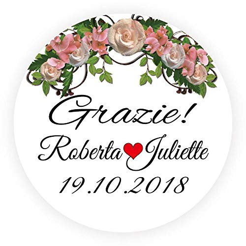 DouxArt 100pcs Stickers Personalized Wedding Favors Grazie, 40 MM Flowers Marriage Baptism Communion Invitation Labels V682