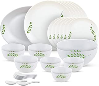 Larah by Borosil - Moon Series, Botanica 33 Pieces Opalware Dinner Set, White