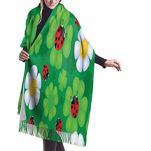 Nice-Guy Beautiful Ladybug Clover Floral Bufanda de cachemir