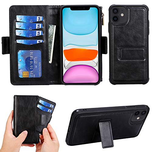 Compatible with iPhone 12 Mini Wallet Leather Case with Card Holder,Zipper Detachable Magnetic Shockproof with 6 Card Slots Holder and Wrist Strap Cash Carrying Pouch Flip Cover 5.12 inch.