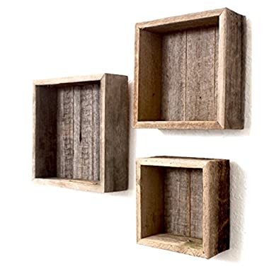 BarnwoodUSA Deluxe Rustic Farmhouse Floating Box Shelves | Made of 100% Reclaimed and Recycled Wood | Open Shadow Box Style To Display Pieces or Show Off By Themselves | Made in USA | Weathered Gray
