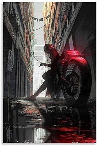Lienzo Y Arte De Pared PóSter Hombre en Bicicleta Fumar Moderno para decoración de Oficina Pintura Pared Y Estampados Cuadros 15.7'x23.6'(40x60cm) Sin Marco