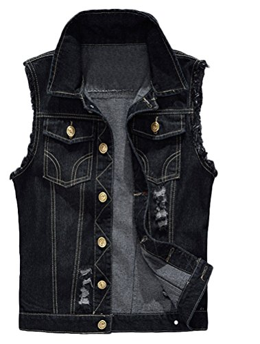 Lavnis Men's Sleeveless Denim Vest Casual Slim Fit Button Down Jeans Vests Jacket Black XS