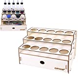 OPHIR Wooden Paint Rack Pigment Ink Bottle Storage with Cabinet Holder Organizer for 15 Bottles of Paints