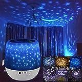 Lámpara proyector estrellas techo luz nocturna niños con 5 temas diferentes y 6 colores, lámpara LED romántica cielo estrellado, regalo para adultos y niños