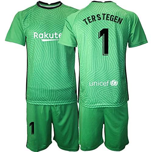 Camiseta Futbol Portero Fútbol Jersey # 1 TER Stegen Camiseta Sudadera Transpirable Regalos para La Familia (Color : Green, Size : S)