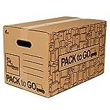 Pack 10 Cajas Carton Almacenaje, Mudanza con Asas, Carton reforzado de 50x30x30cm.