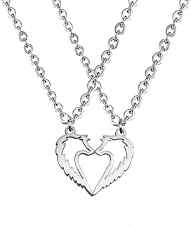 Tribal Wolf Couples Statement Pendant Necklace Sweet Heart Jewelry for Lovers