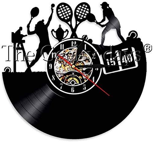 hxjie 1pc Gioca a Tema Tennis Orologio da Parete con Disco in Vinile Design Moderno Decorazioni per la casa Orologio da Parete Orologio da Polso per Uomo Tennis Sport Regalo