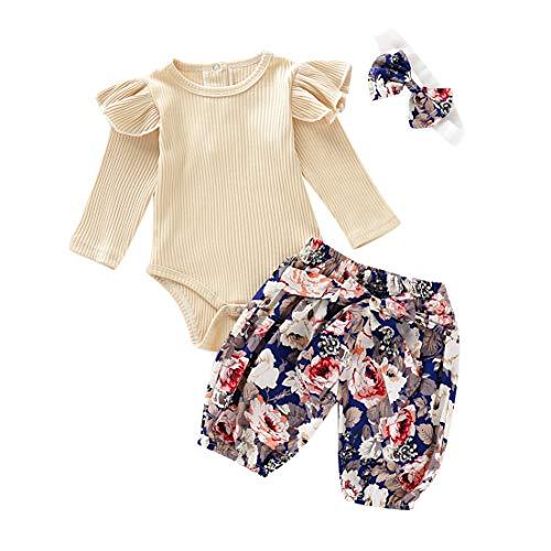 Julhold Peuter Baby Kids Meisjes Leuke Elegante Casual Soild Lange Mouw Romper+Print Broek Outfits Set Kleding 0-24 Maanden