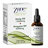 Zane Hellas 15000mg Hemp Oil, 6000mg of Essential Oregano Oil. Unique Maximum Strength Formula. Pain Relief, Anxiety Relief, Stress Relief. Better Sleep and Mood Boost. 1f.oz-30ml