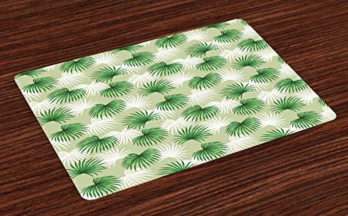 ABAKUHAUS Blatt Platzmatten, Tropisches Blatt der Palme Livistona Rotundifolia Insel-Dschungel-Laub, Tiscjdeco aus Farbfesten Stoff für das Esszimmer und Küch, Hellgrün Weiß Grün