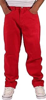 Georgio Peviani Men's Comfort Straight Fit Denim Jeans, Red
