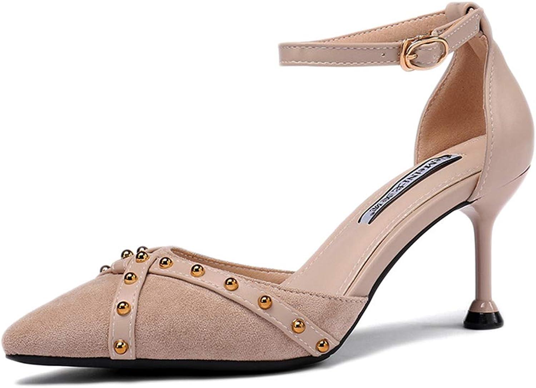SDKHIN damen Stiletto mit Riemen Mode geschlossene Zehenparty EIN-Knopf-Absatz spitz sexy Nieten Sandalen